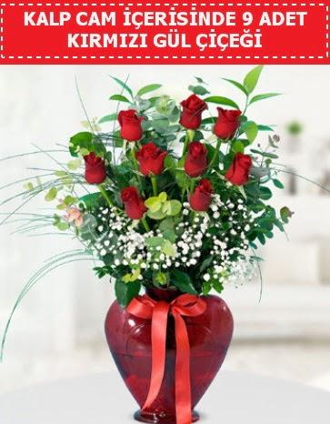 Kırmızı kalp camda 9 kırmızı gül  Ankara Gölbaşı hediye sevgilime hediye çiçek