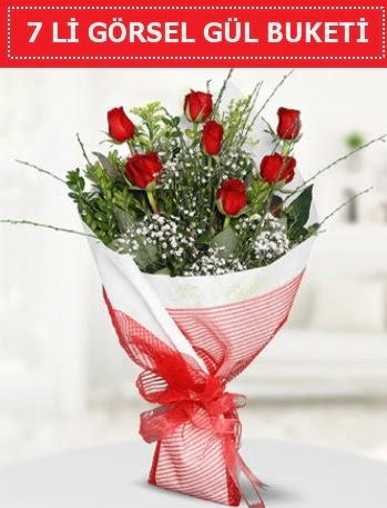 7 adet kırmızı gül buketi Aşk budur  Ankara Gölbaşı hediye sevgilime hediye çiçek