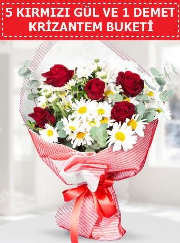 5 adet kırmızı gül ve krizantem buketi  Ankara Gölbaşı hediye sevgilime hediye çiçek