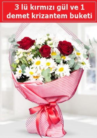 3 adet kırmızı gül ve krizantem buketi  Gölbaşı çiçek gönder cicekciler , cicek siparisi