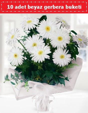 10 Adet beyaz gerbera buketi  Gölbaşı çiçek online çiçek siparişi
