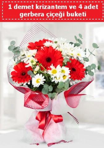 Krizantem ve Gerbera Buketi  Gölbaşı çiçekçi güvenli kaliteli hızlı çiçek