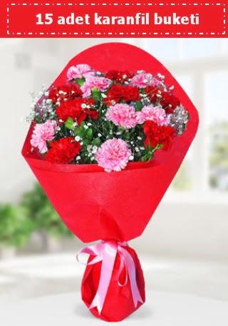 15 adet karanfilden hazırlanmış buket  Ankara Gölbaşı çiçek gönderme