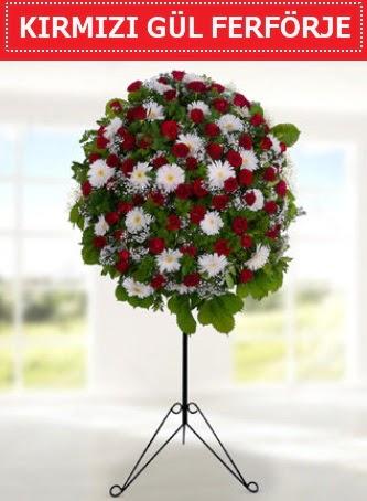 Kırmızı gül ferförje 40 adet gül ve gerbera  Ankara Gölbaşı çiçekçi uluslararası çiçek gönderme