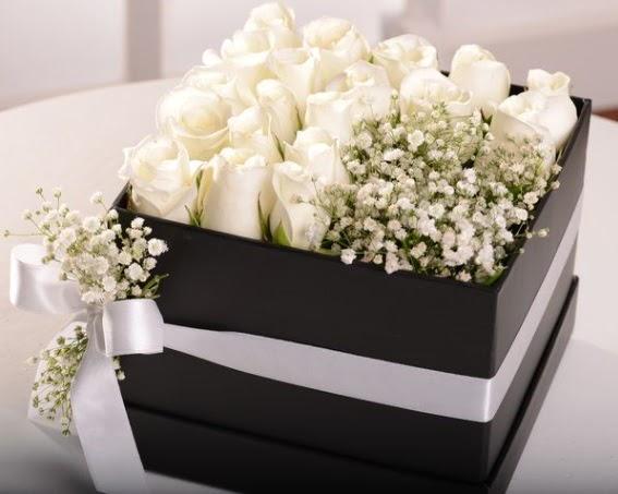 Kutu içerisinde 19 beyaz gül ve cipsofilya  Gölbaşı çiçek online çiçek siparişi
