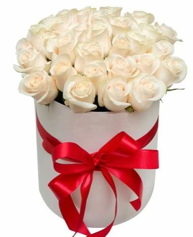 Kutuda özel 27 beyaz gül aranjmanı  Ankara Gölbaşı çiçek gönderme