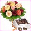 Gölbaşı çiçek yolla , çiçek gönder , çiçekçi   Renkli Güller ve çikolata